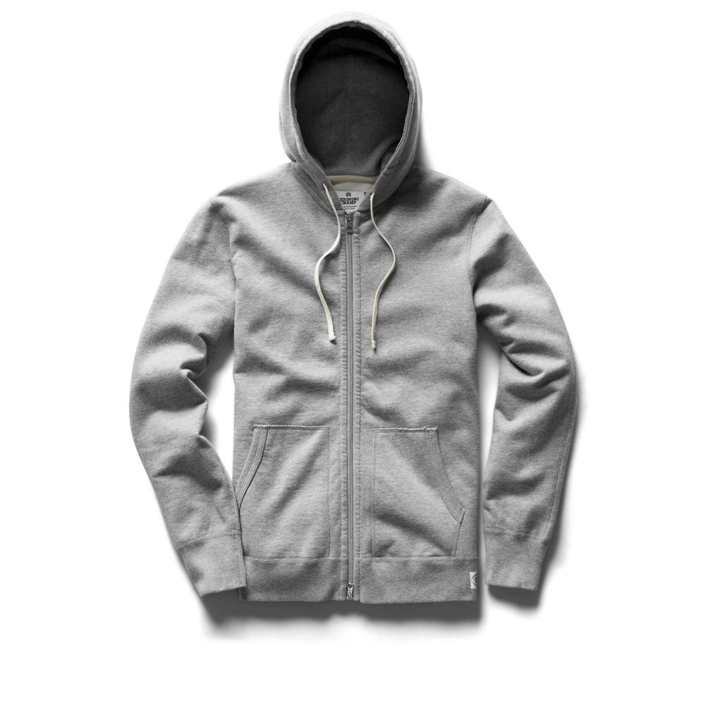 Reigning Champ Terry Full Zip Hoodie: Heather Grey