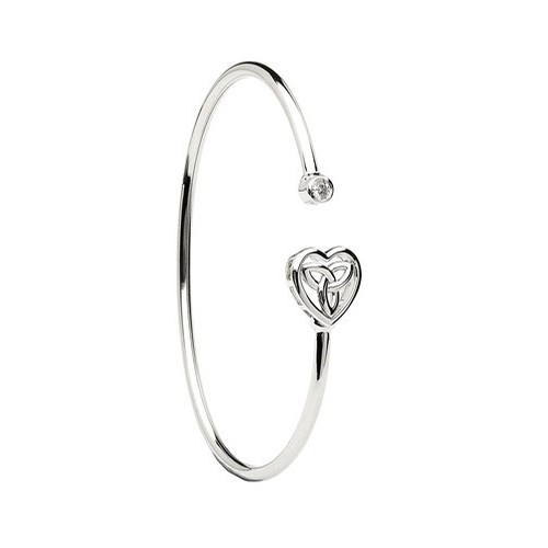 Celtic Heart Sterling Silver Bangle with Cubic Zirconia