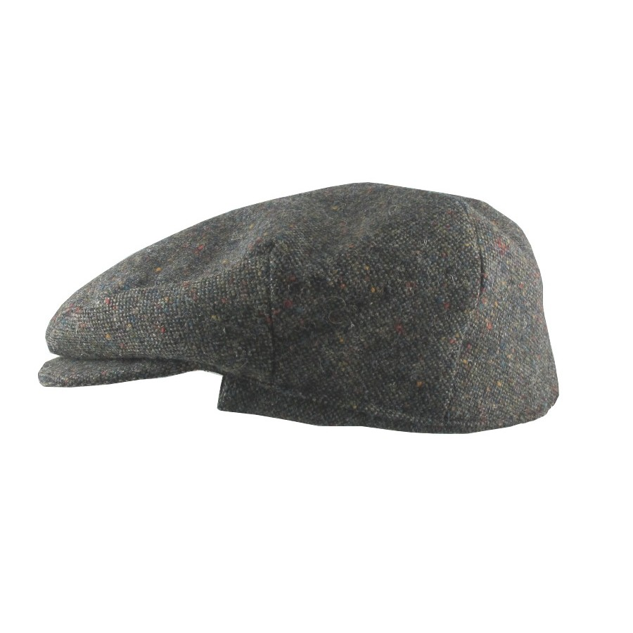 Salt and Pepper Flat Cap with Ear Flaps