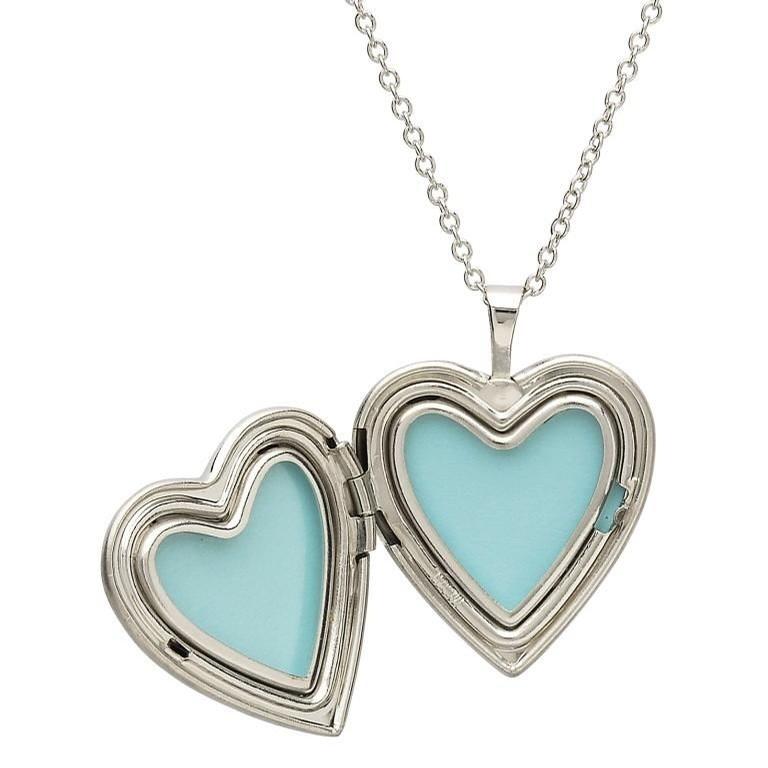 Sterling Silver Heart Locket with Shamrocks