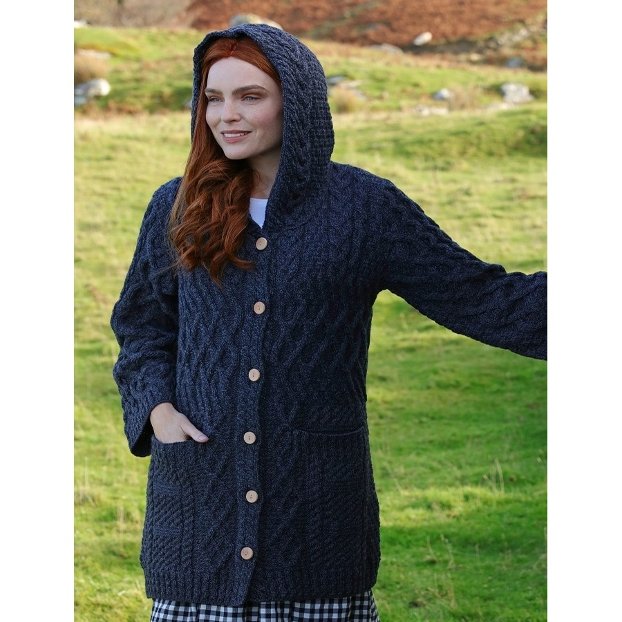 Hooded Merino Wool Cardigan