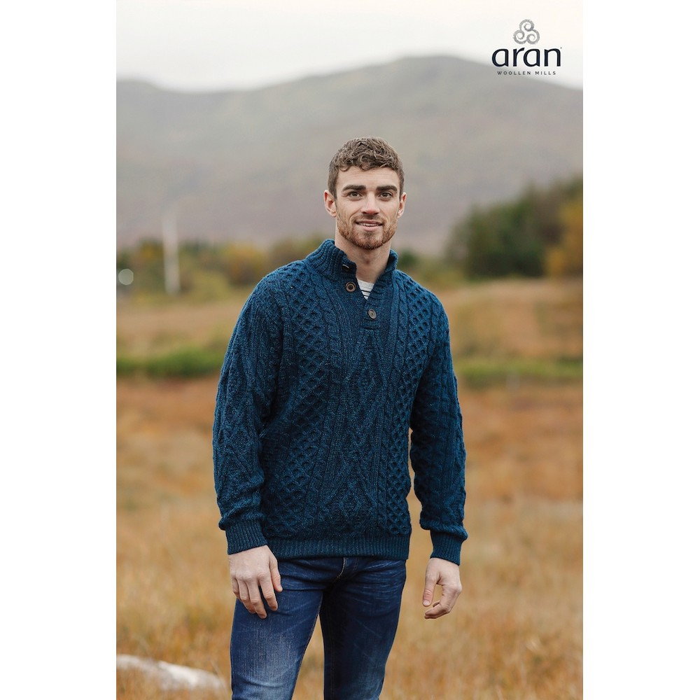 Blue Irish Button Down Aran Sweater