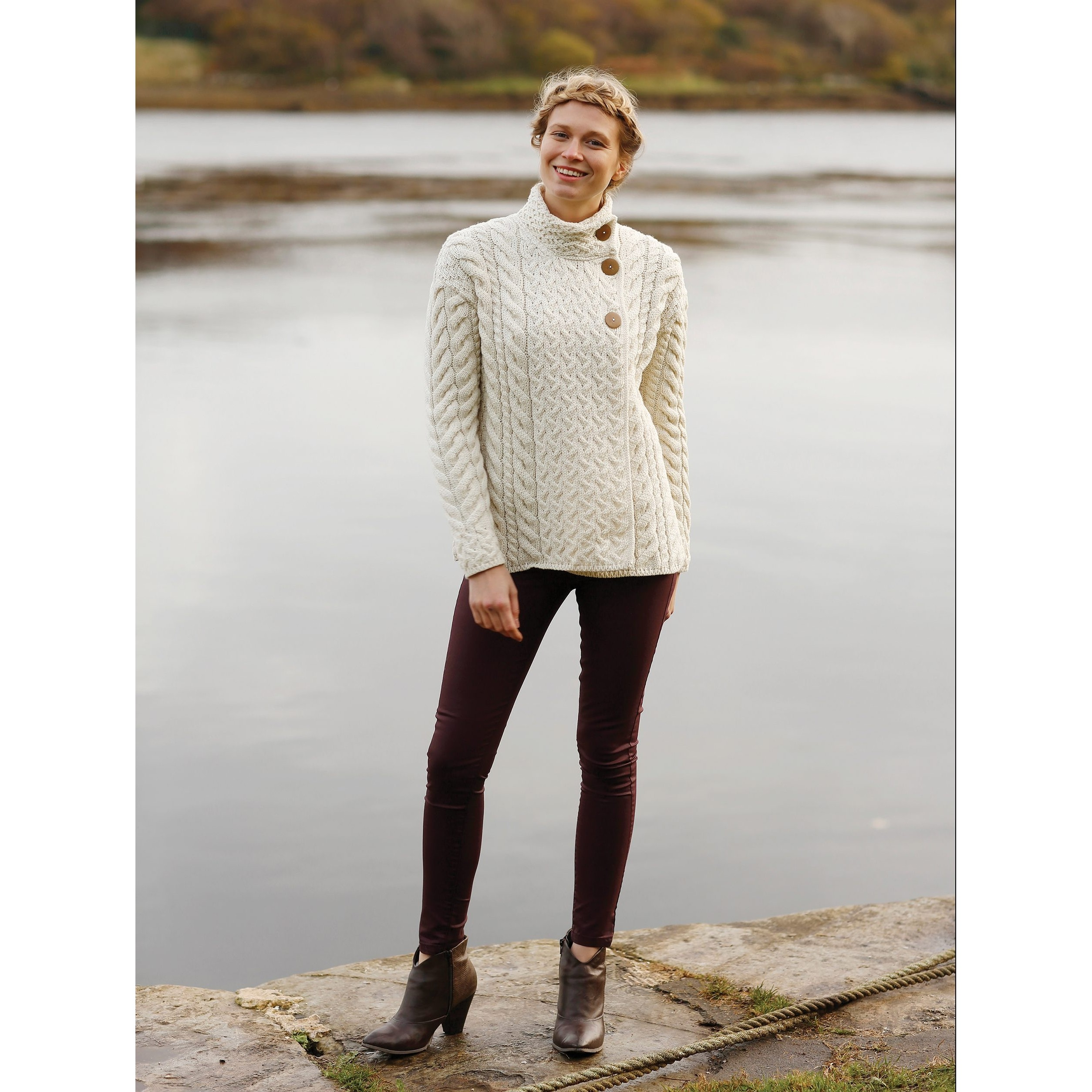 Carraig Donn Knitwear Supersoft White Irish Cardigan