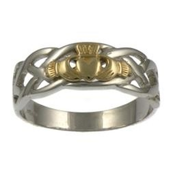 Facet Jewelry White Gold Two Tone Claddagh Celtic Ring