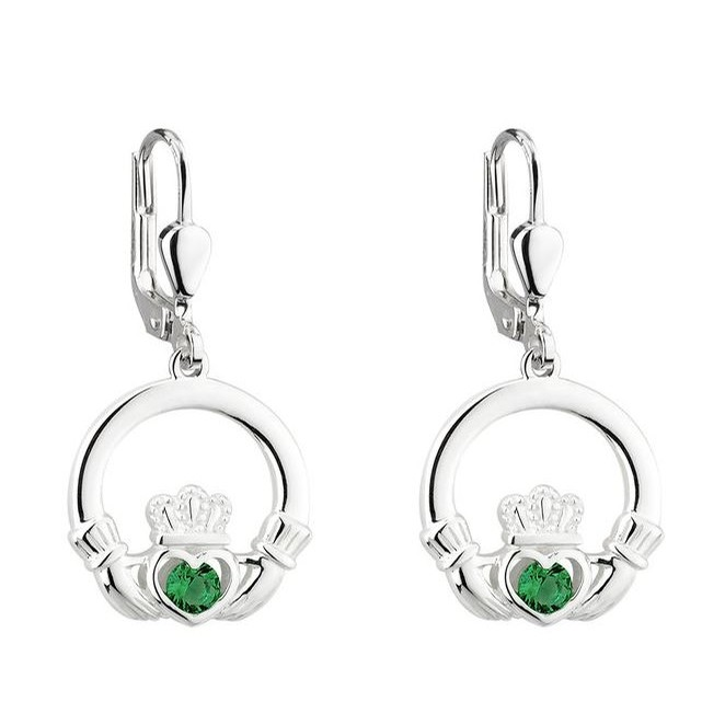 Claddagh Drop Earrings With Green Stone