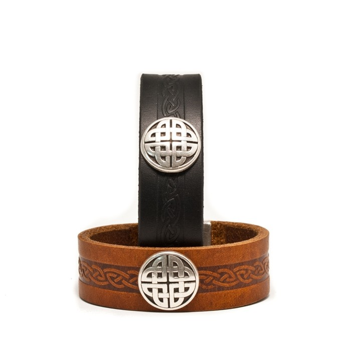 Celtic Leather Cuff from Ireland (Snap Black)