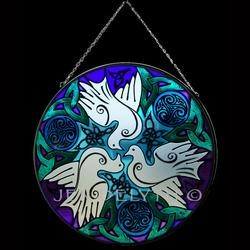 Celtic Doves Stained Glass