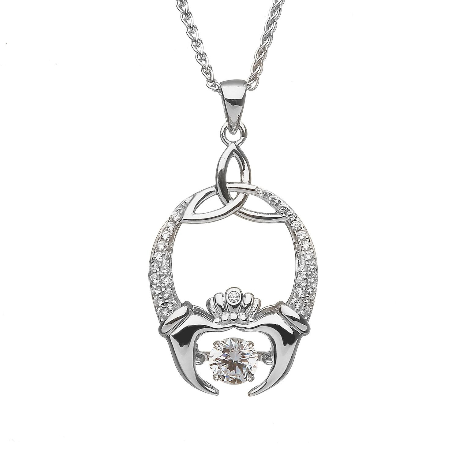 Damhsa Trinity and Claddagh Pendant with Dancing CZ