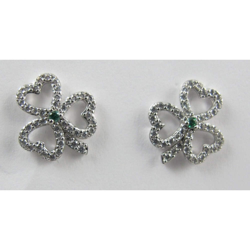 Shamrock Earrings with Emerald and Pave CZ