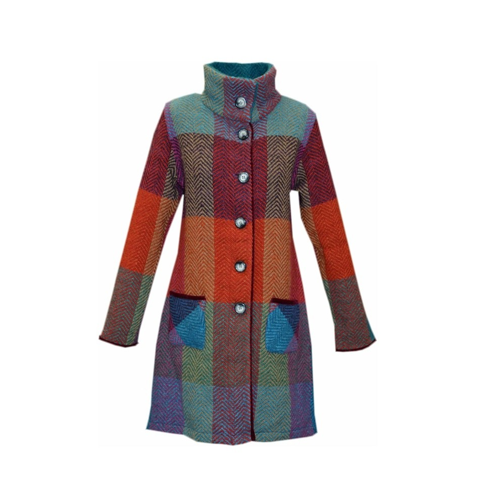 Irish Wool Coat Emma (Donegal Red)
