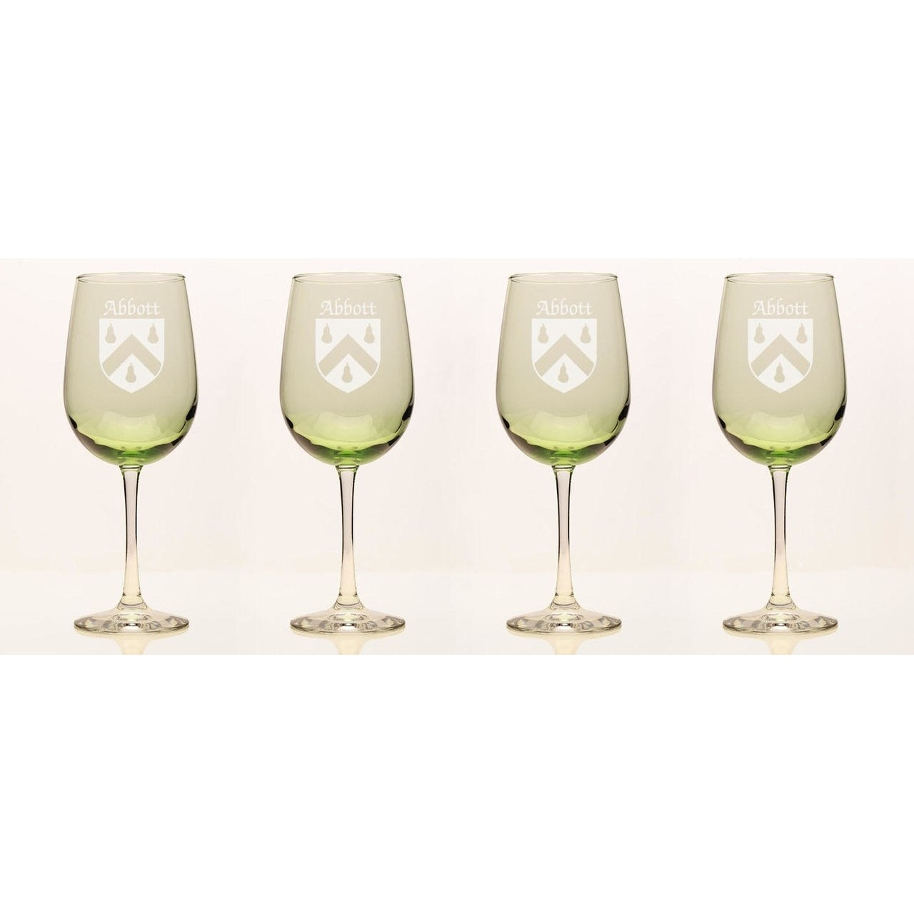 Irish Coat of Arms Green Wine Glasses - Set of 4 (Sand Etched)
