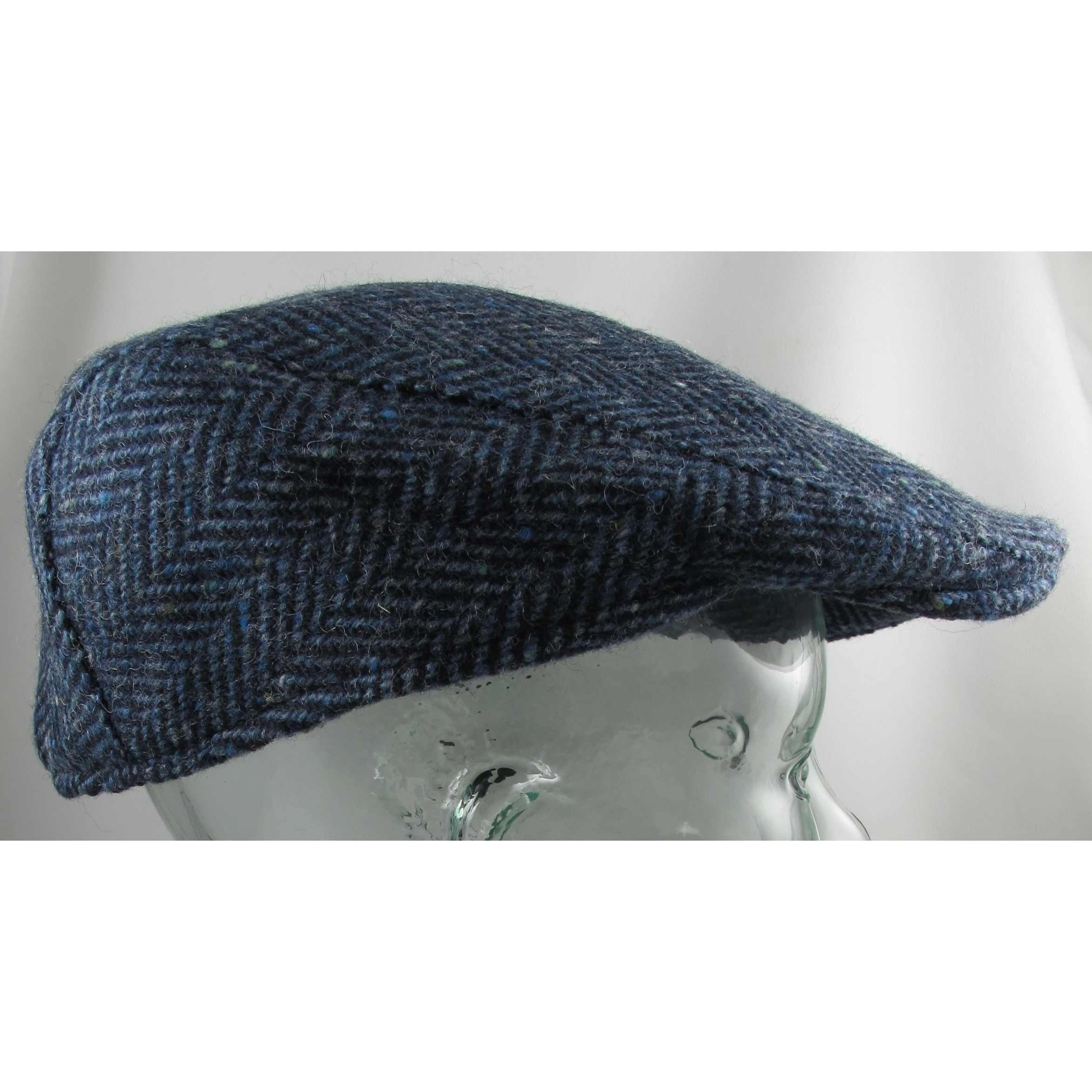 Hanna Hats Navy and Blue Herringbone Touring Cap Clothing Caps ... a48e9beac81