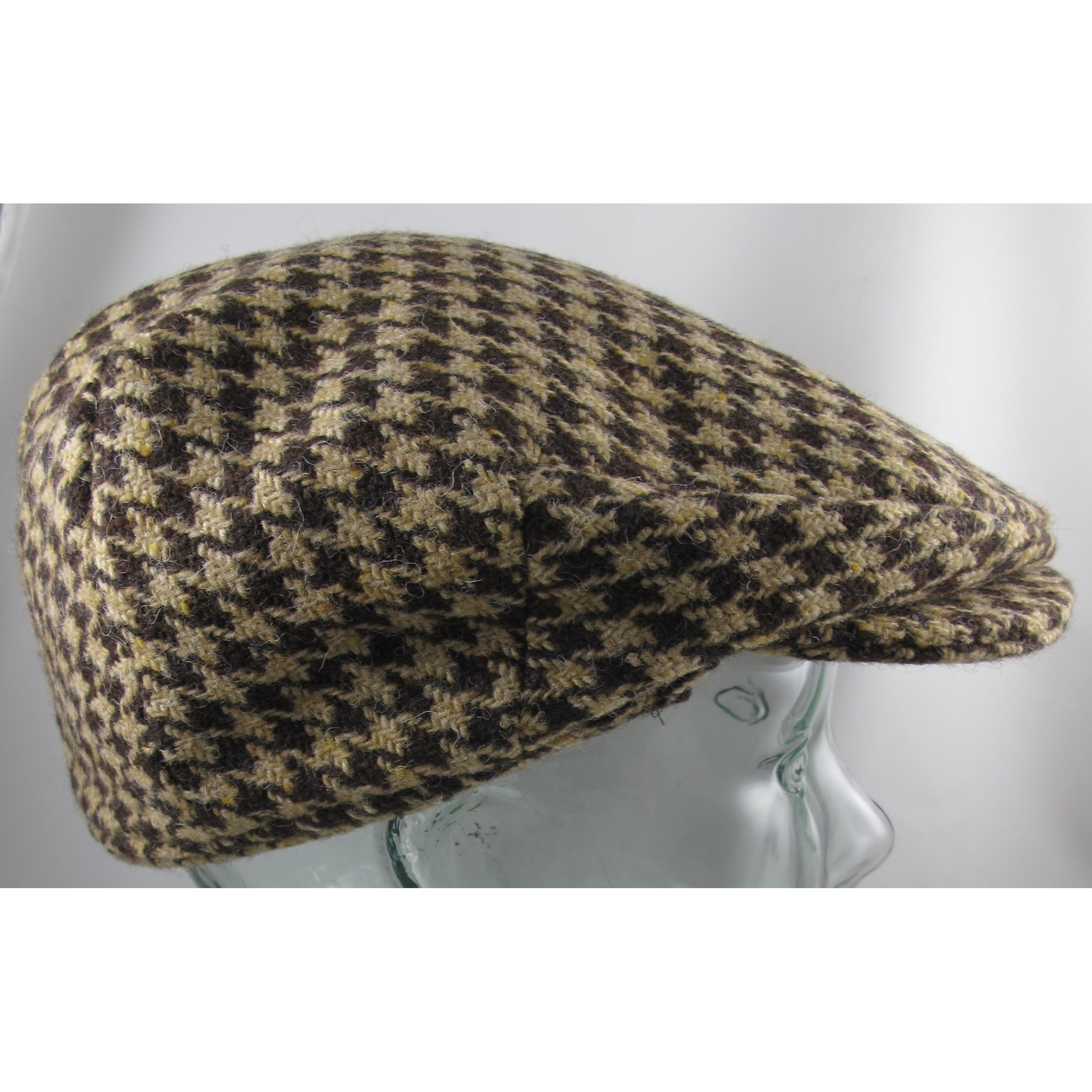 Brown and Tan Check Vintage Cap with Flaps