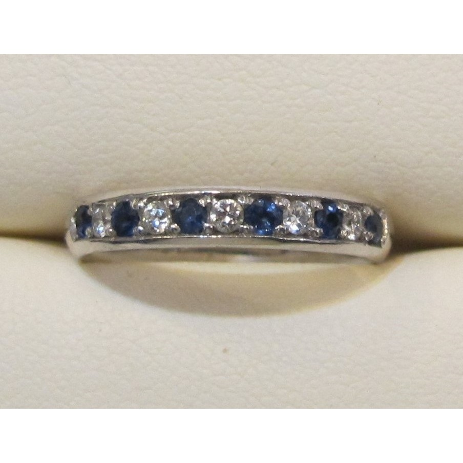 14k White Gold Diamond and Sapphires