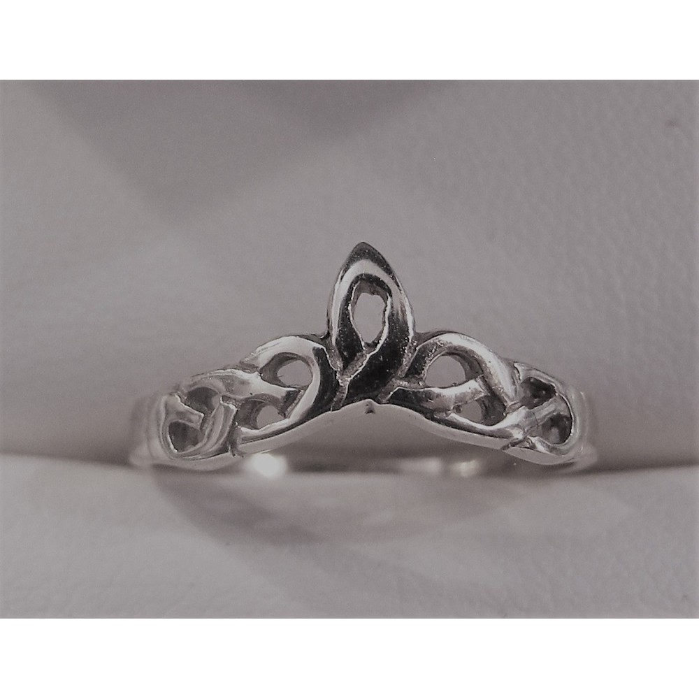 White Gold Celtic Wishbone Ring