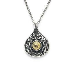 Teardrop Oxidised Pendant with 18K Gold Bead