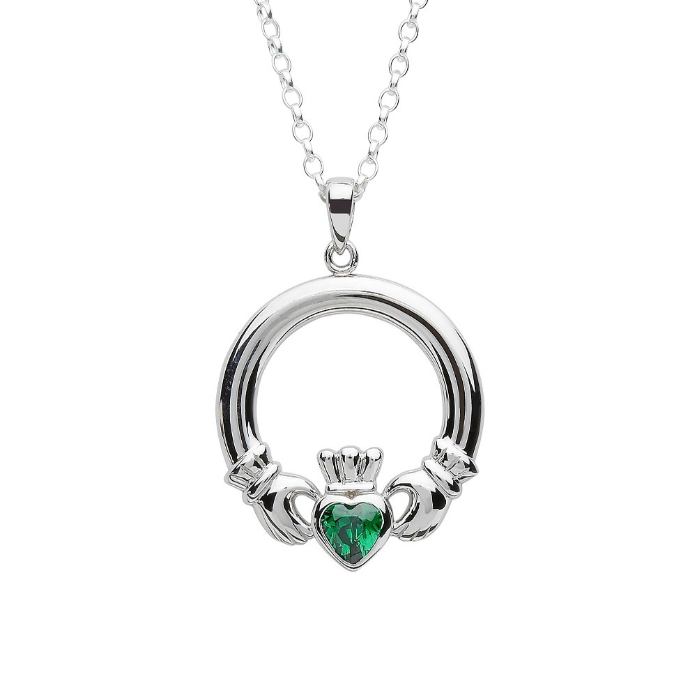 Claddagh Pendant with Emerald CZ