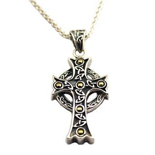 Keith Jack Jewelry Celtic Cross Pendant with 18K Beads.