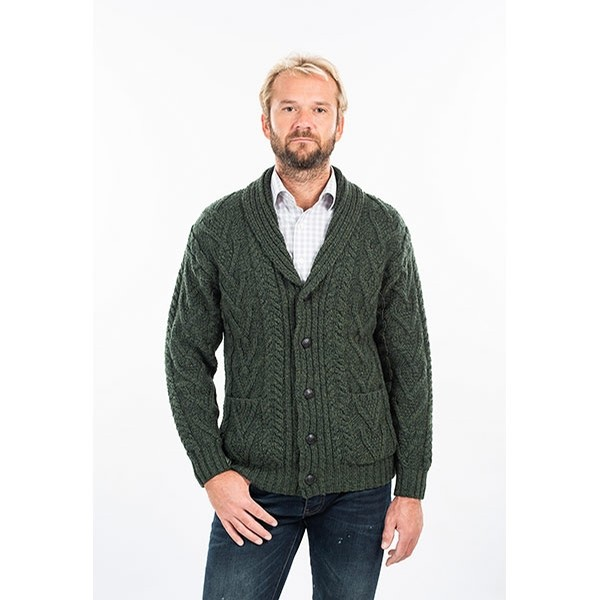 Aran Cable Shawl Collar Cardigan