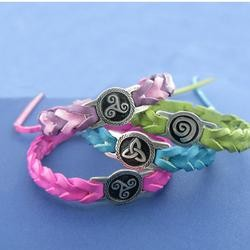 Amethyst Dublin Coloured Leather Wristbands - Pewter Celtic Designs