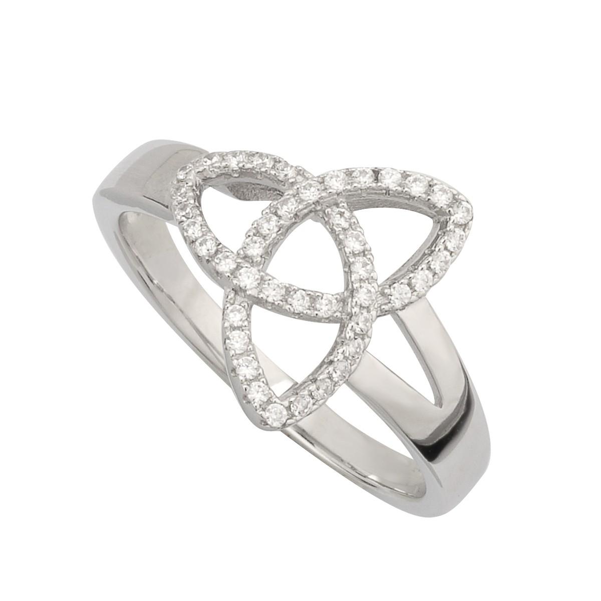 Trinity Knot Ring with Cubic Zirconia
