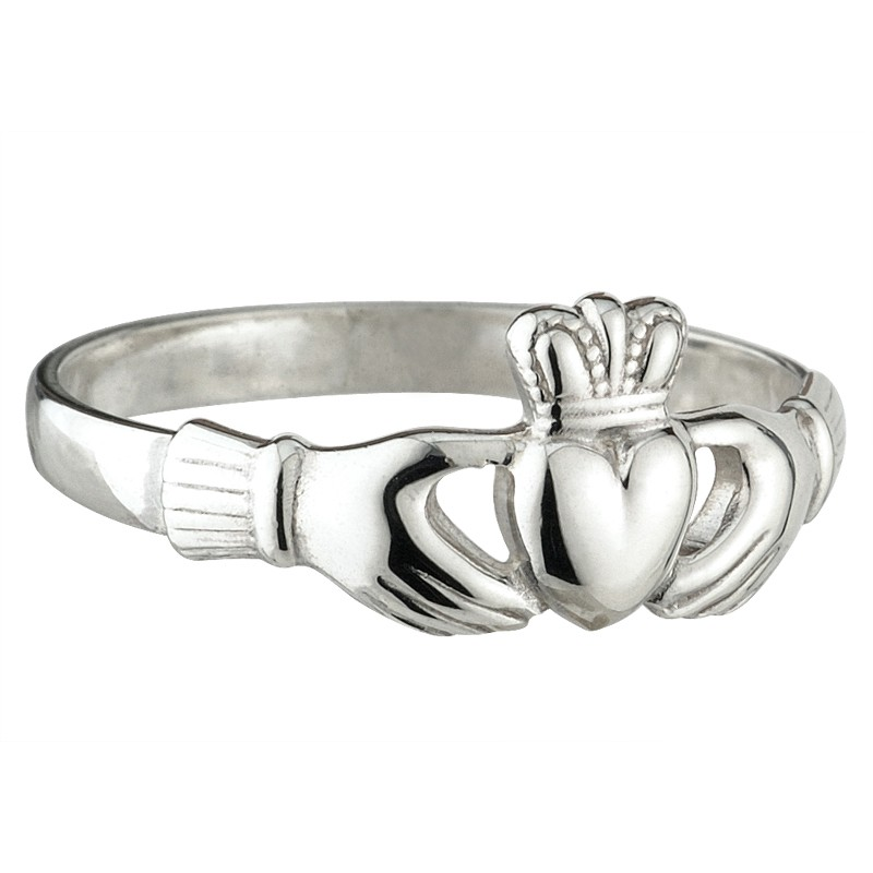 White Gold Claddagh Ring Extra Heavy