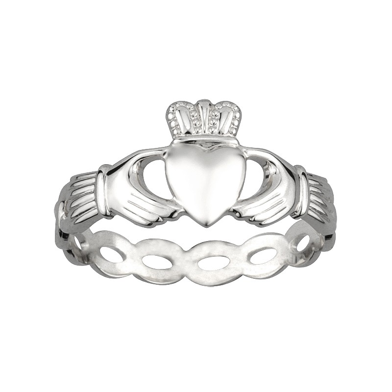 Solvar Jewelry Silver Woven Band Claddagh Ring