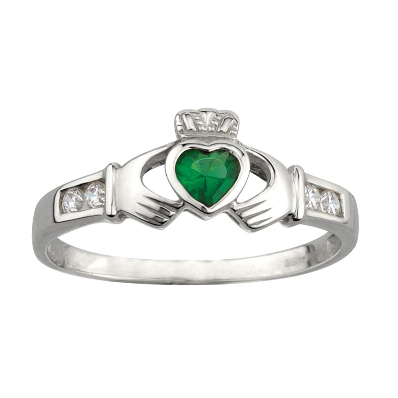 Solvar Jewelry Silver Claddagh Ring With Stones