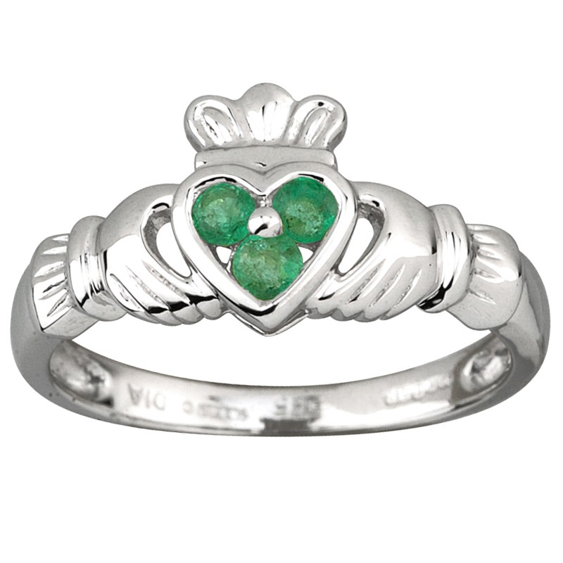 Solvar Jewelry White Gold Claddagh Ring with Emerald Heart