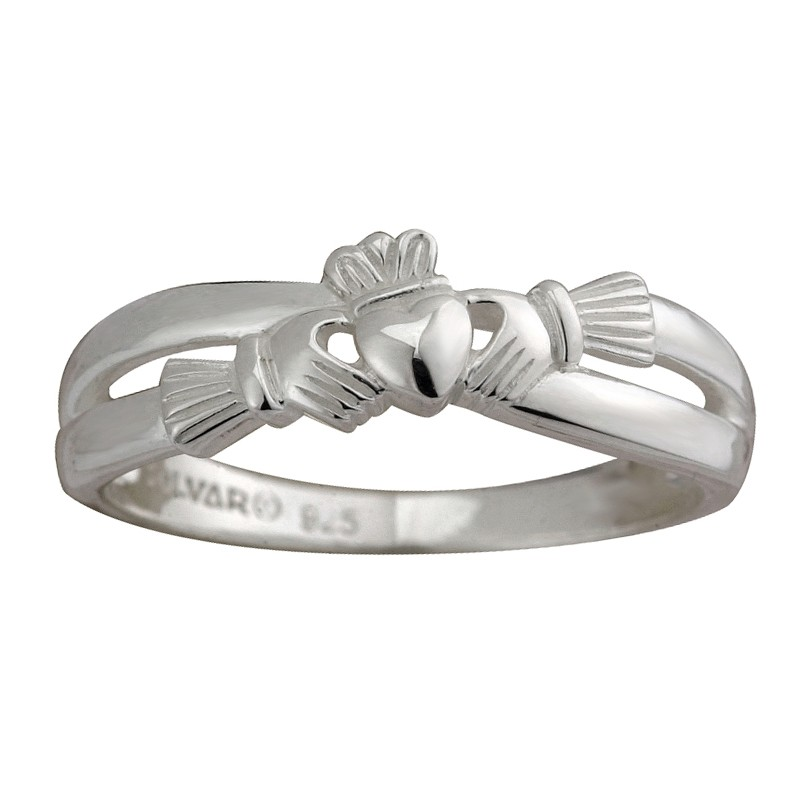Solvar Jewelry Sterling Silver Claddagh Kiss Ring