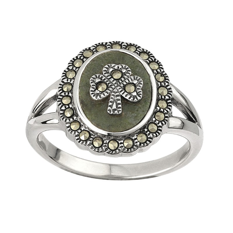 Solvar Jewelry Connemara Marble Ring with Marcasite Shamrock