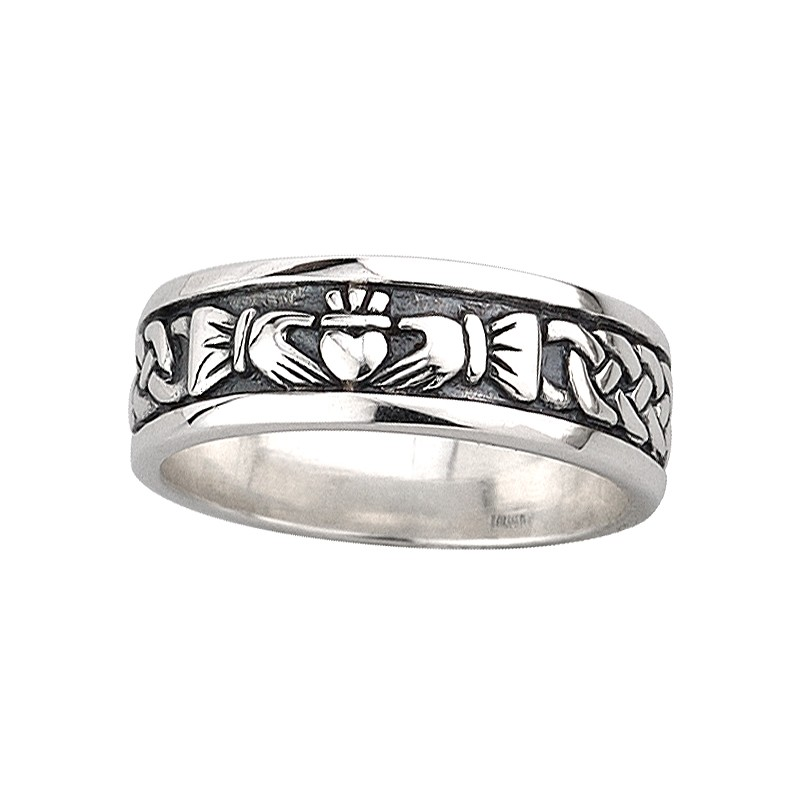 Solvar Jewelry Sterling Silver Claddagh Knot Band