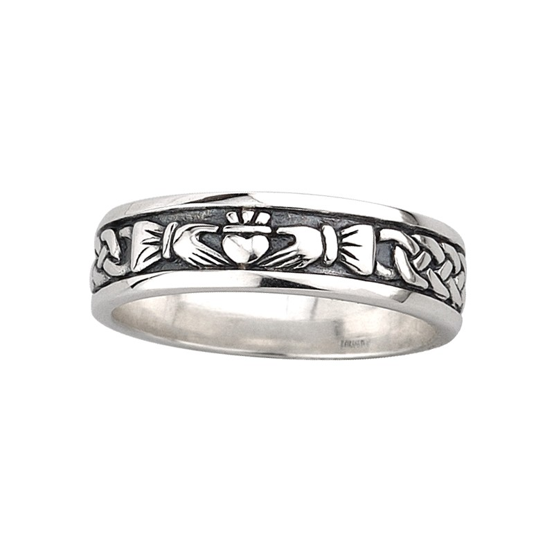 Solvar Jewelry Sterling Silver Claddagh Knot Band Small