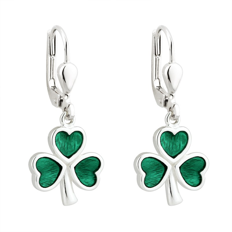 Solvar Jewelry Green Shamrock Drop Earrings