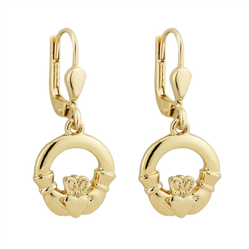 Solvar Jewelry Gold Plated Claddagh Drop Earrings