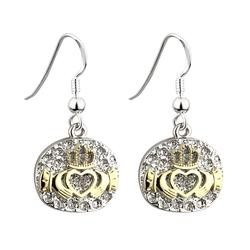 Claddagh Drop Earrings with Gold Brush