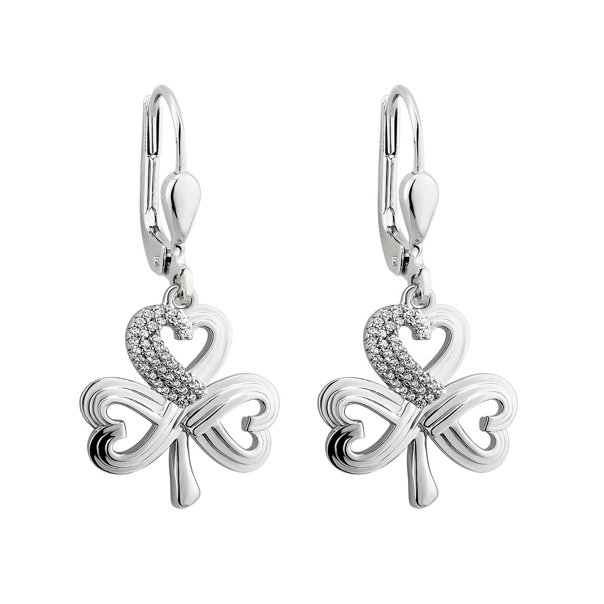 Shamrock Etched Silver Earrings