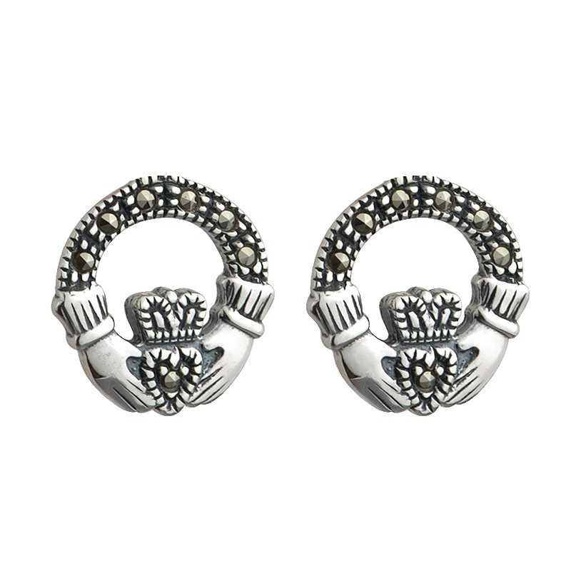 Solvar Jewelry Silver Claddagh Studs with Marcasite