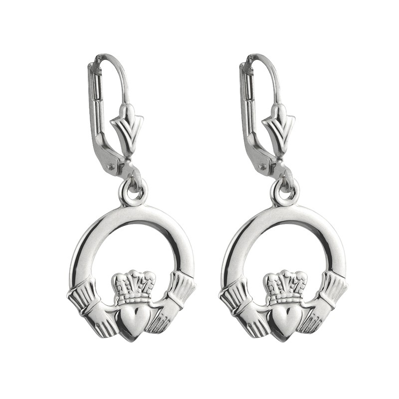 White Gold Claddagh Earrings