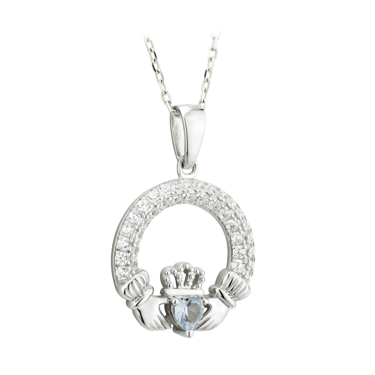 Birthstone Claddagh Pendant (December)