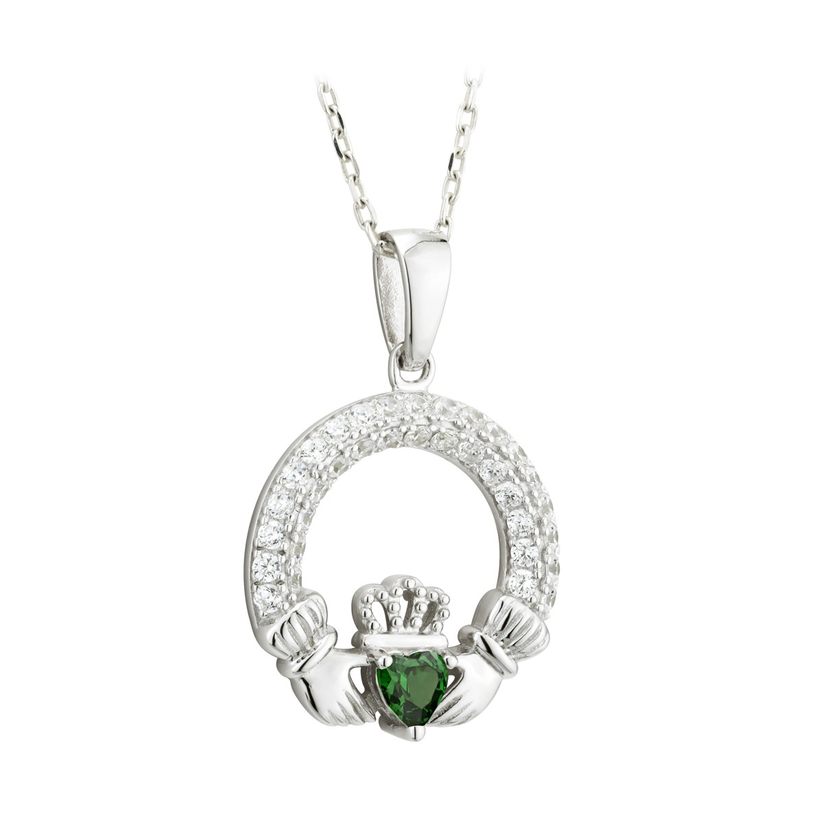 Birthstone Claddagh Pendant (May)