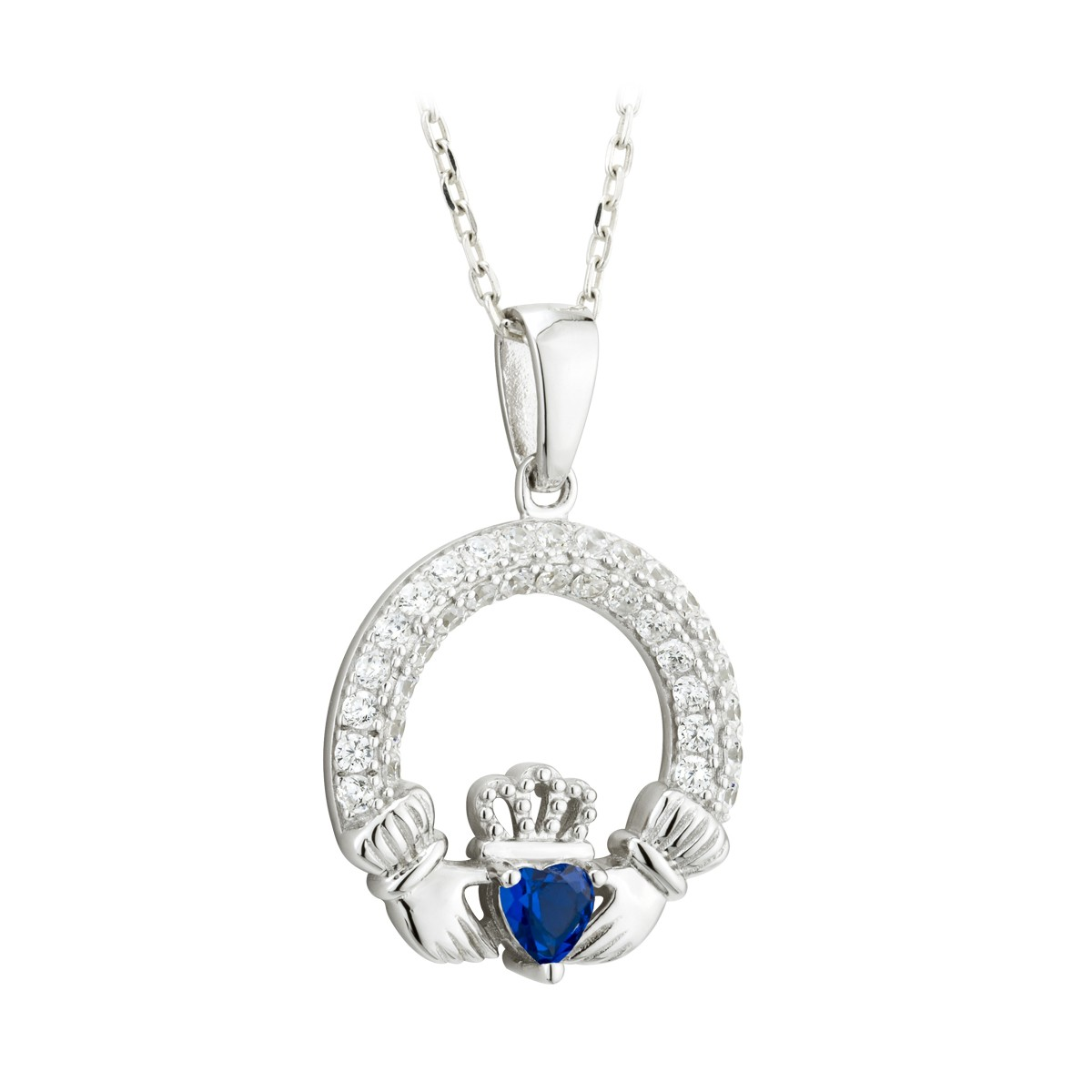 Birthstone Claddagh Pendant (September)