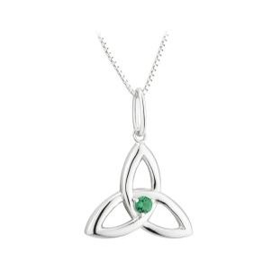 Acara Trinity Knot Pendant With Green Stone