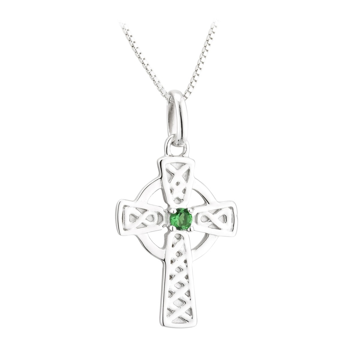 Acara Celtic Cross with Green Stone