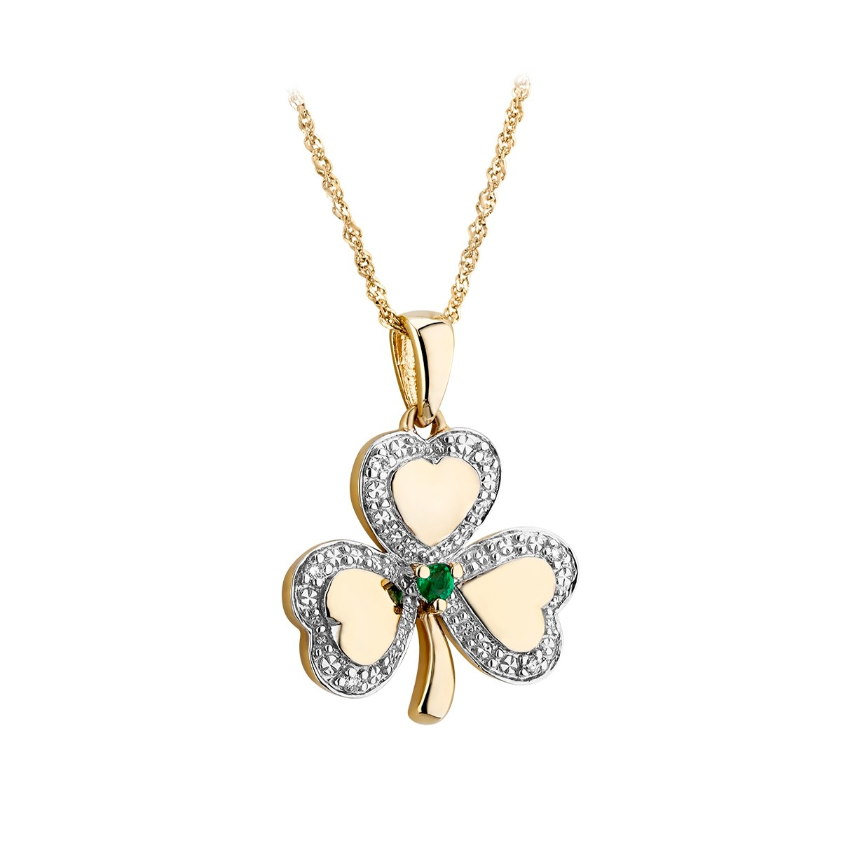 Yellow Gold Shamrock Pendant with Diamonds and Emerald