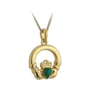 Gold Plated Claddagh Heart Emerald