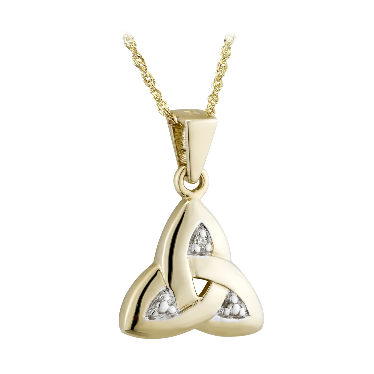 Yellow Gold Trinity Knot with Diamonds Pendant