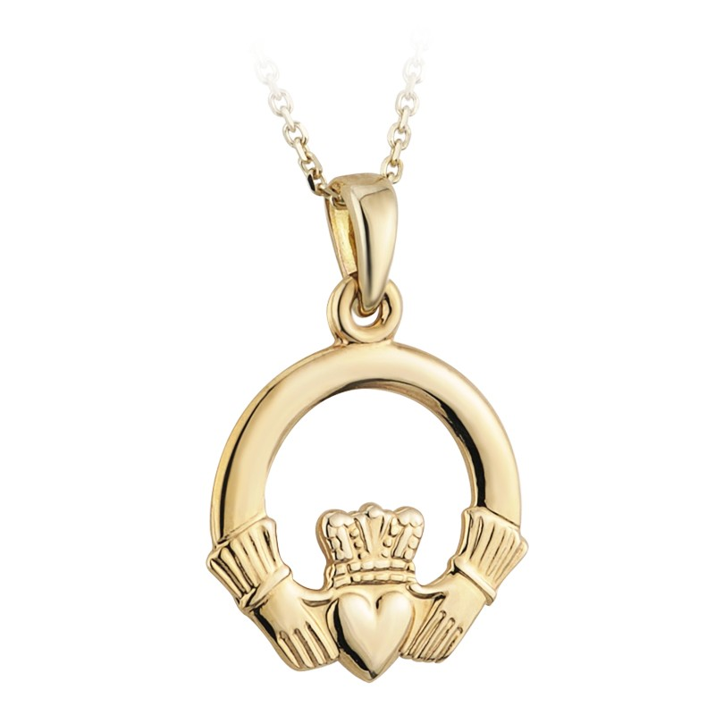 Solvar Jewelry Gold Plated Claddagh Pendant Large