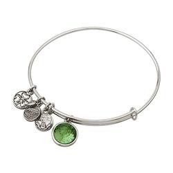Rhodium Birthstone August Charm Bangle