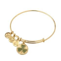 Gold Tone Enamel Shamrock Bangle